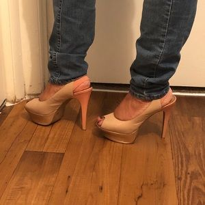 SS by Jessica Simpson nude and pink open toe heel